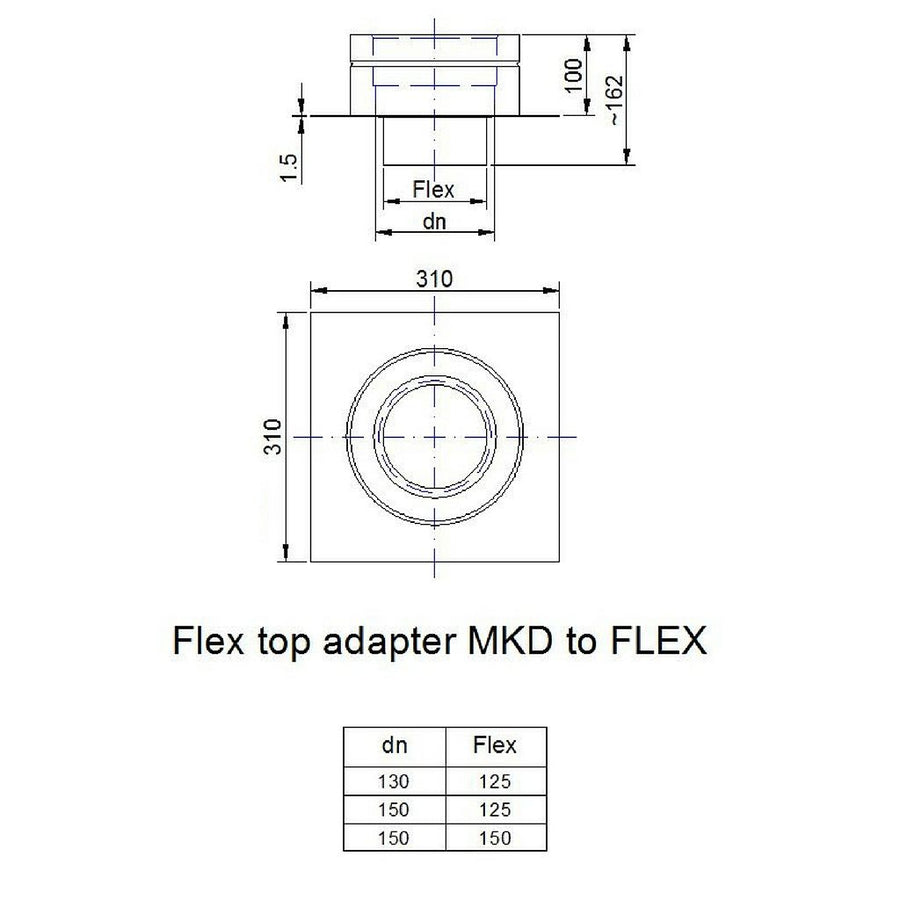 Flex to twin wall adaptor (for sitting atop a short chimney stack)