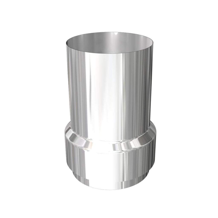LONG NOSE (longer nose than standard at four inches long) flue adaptor (NO BOLTS) in HIGH-QUALITY STAINLESS STEEL (beware cheap and thin versions)