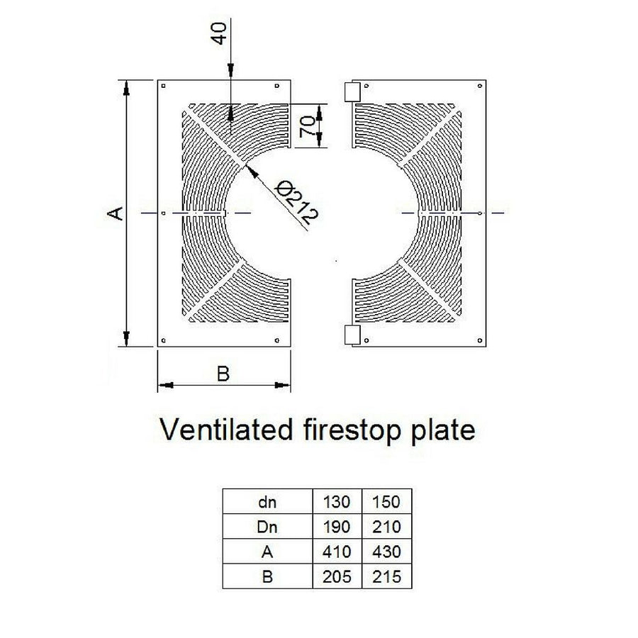 Ventilated firestop plate only