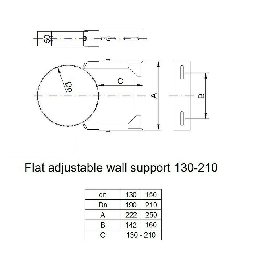 Flat adjustable wall support 130-210mm