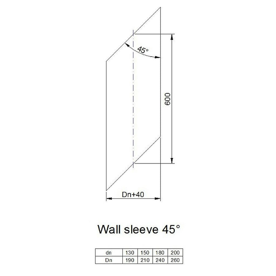 45 degree wall sleeve (for when going through wall)