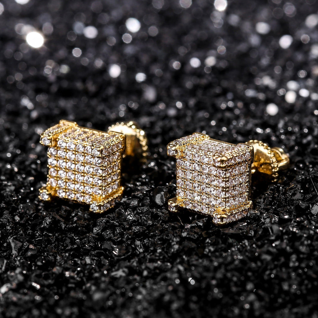 14k Lab-Diamond Square Earring Set