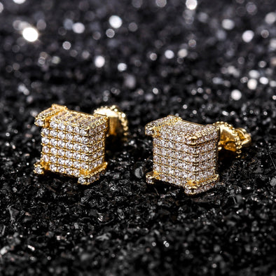 14k Lab-Diamond Square Earring Set (Sterling Silver)