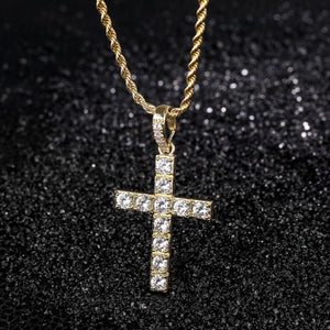 14k Iced Cross Pendant