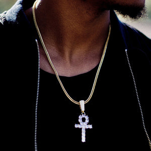 Iced-Out Ankh Pendant