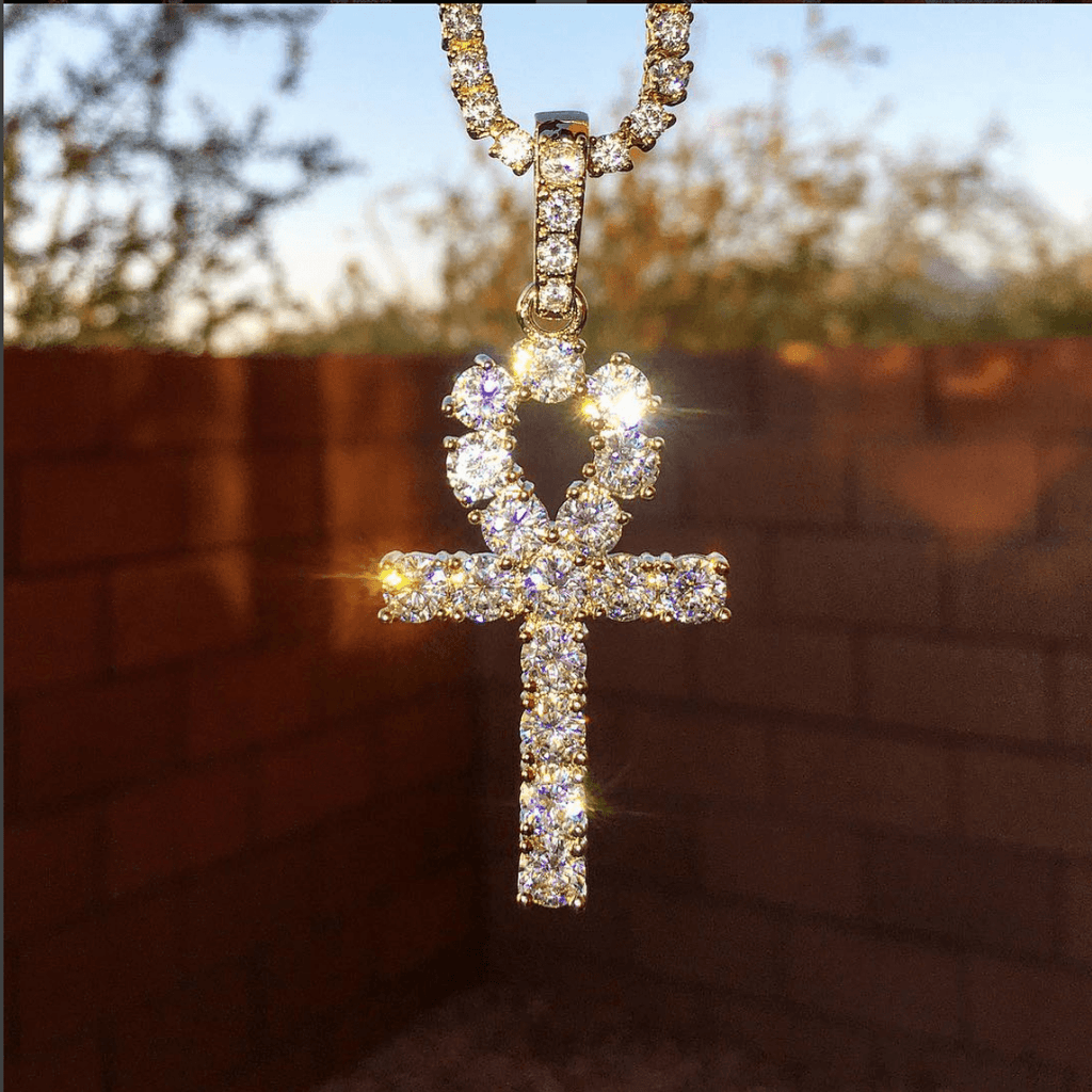 14k Lab Diamond Ankh Pendant