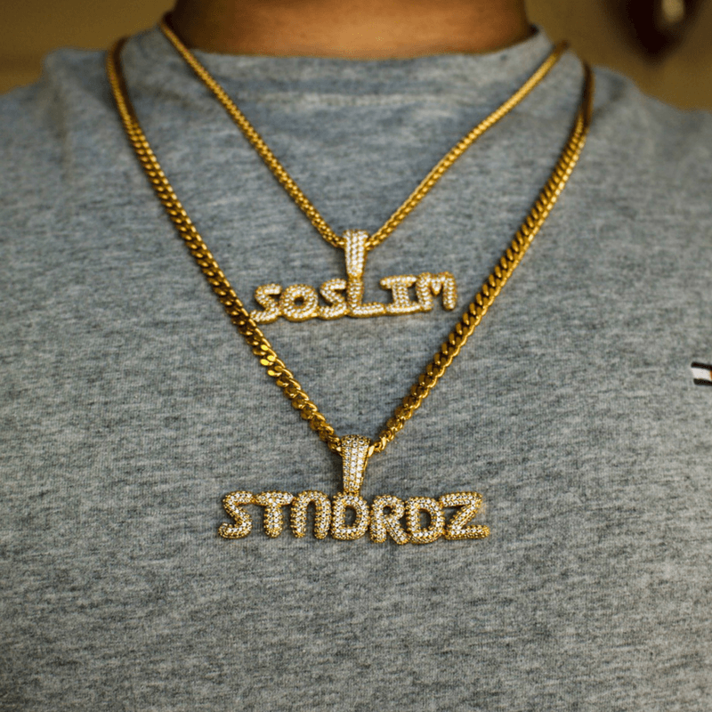 Men's Custom Hip Hop Jewelry | Iced Out Bubble Letter
