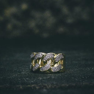 18k Lab Diamond Cuban Link Ring