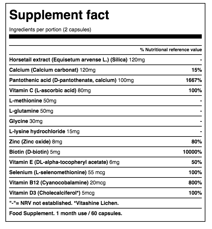 hairlust vitamins ingredients