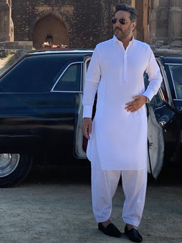 Shirt Collar White Cotton Kameez Shalwar - Buraq By Almirah