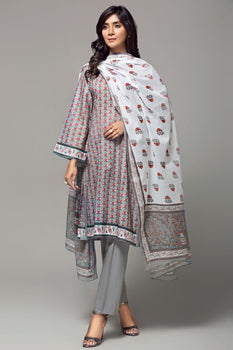 Grey Printed 3pc Lawn Suit  - Gul Ahmed