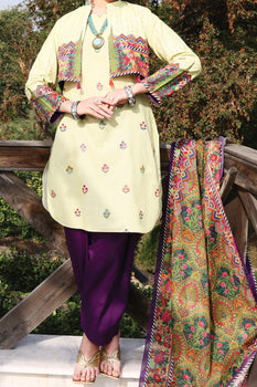 Lime Lawn 3 Piece Suit - Almirah Unstitched