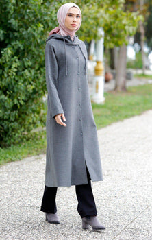 Abaci Grey Cashmere Hooded Topcoat