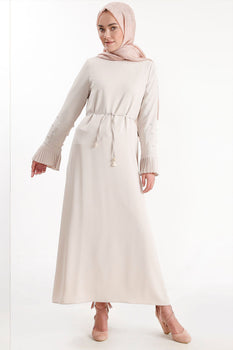 Abaci Beaded Sleeve Cream Maxi Dress