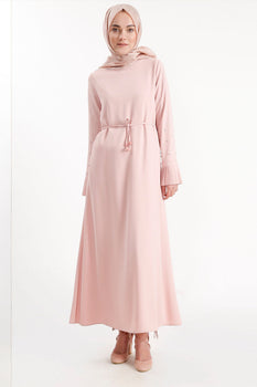Abaci Beaded Sleeve Pink Maxi Dress