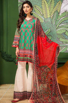 Paisley Fantasy (3 Piece Green Suit) - Limelight Lawn Collection