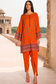 Orange Khaddar Kurta - Warda