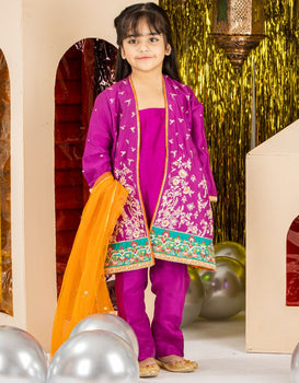 Purple China Silk 3 Piece Suit - J. Junaid Jamshed Kids