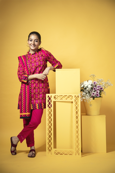 Shocking Pink Cambric Cotton 3 Piece Suit - Senorita Winter Collection