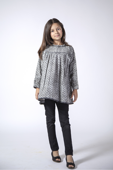 Grey Printed Cotton Kurta - Senorita Winter Collection