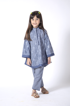 Blue Printed Cotton 2 Piece Suit - Senorita Winter Collection
