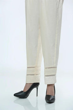 Beige Embroidered Trousers - LSM
