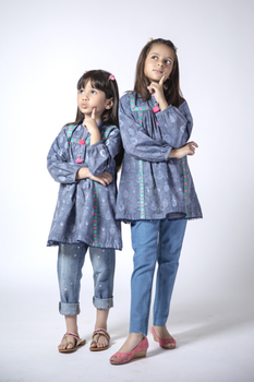 Blue Printed Cotton Kurta - Senorita Winter Collection