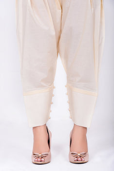 Off White Tapered Shalwar - Cross Stitch