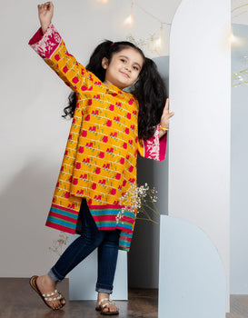 Pink Birds Girls Kurta - J. Junaid Jamshed Winter