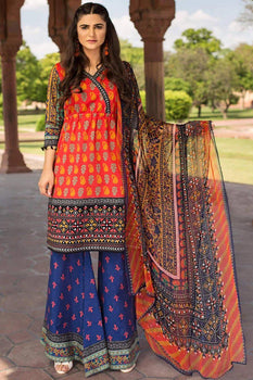 Royal Stitches (3 Piece Red) - Limelight Lawn Collection