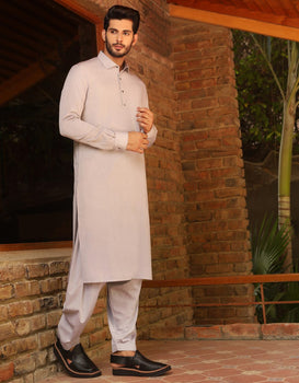 Light Grey Kameez Shalwar - J. Junaid Jamshed Winter