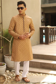 Light Brown Kurta - J. Junaid Jamshed Festive Teens