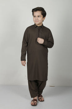 Dark Green Shalwar Kameez - Eden Robe Boys Winter Collection