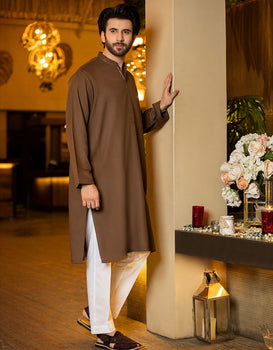Chocolate Brown Kurta - J. Junaid Jamshed Festive
