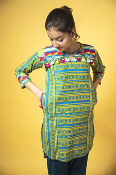 Blue and Yellow Cambric Cotton 3 Piece Suit - Senorita Winter Collection