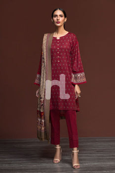 Karandi & Pashmina Red Printed 3PC - Nishat Linen Winter Collection