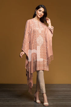 Karandi & Embroidered Shawl – Peach Printed 3PC - Nishat Linen Winter Collection