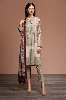Linen & Silk Wool – Beige Printed 3PC - Nishat Linen Winter Collection