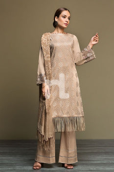 Karandi & Mix Wool – Beige Dyed Embroidered 3PC - Nishat Linen Winter Collection