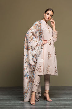Karandi & Mix Wool – Grey Dyed Embroidered 3PC - Nishat Linen Winter Collection