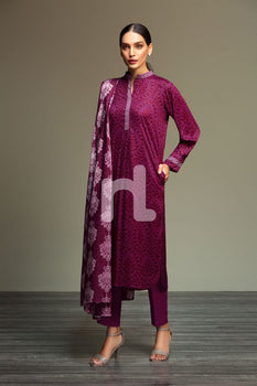 Linen – Purple Printed 3PC - Nishat Linen Winter Collection