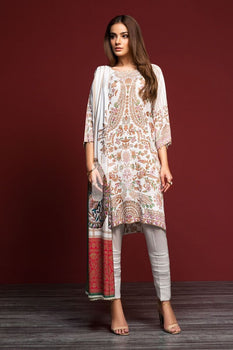 Linen – White Digital Printed 3PC - Nishat Linen Winter Collection