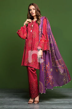 Khaddar & Karandi – Red Printed Embroidered 3PC - Nishat Linen Winter Collection