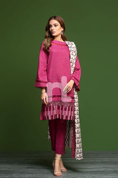 Khaddar & Karandi – Pink Printed Embroidered 3PC - Nishat Linen Winter Collection
