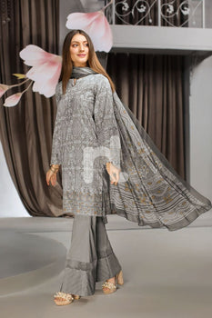 Grey Printed Embellished 3PC - Nishat Linen