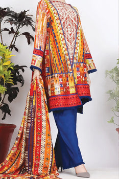 Orange Cambric 3 Piece Suit - Almirah
