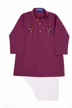 Deep Purple Kameez Shalwar - J. Festive Infants
