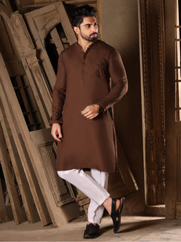 Brown Blended Kurta - Almirah Festive