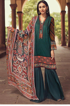 Tropical Gateway (3 Piece Green Suit) - Limelight Lawn Collection