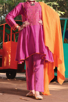 Purple Cotton Viscose 3 Piece Suit - Almirah Unstitched